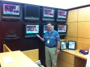 JB Brown at the Reception Desk at EWTN's headquarters in Irondale shows off some of our #WYD2013 coverage!
