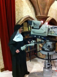 Mother Dolores enjoyed being able to handle one of EWTN's big cameras!