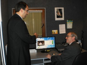 EWTN President & CEO Michael P. Warsaw looks over the facilities in Ukraine with Catholic Media Centre Director Fr. Diego Saez Martin OMI.