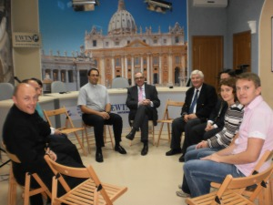 On the set of EWTN Ukraine with EWTN President & CEO Michael P. Warsaw (center), Catholic Media Center Director Fr. Diego Saez Martin OMI (left of center), EWTN Marketing Director Ian Murray (right of center), and staff.