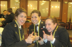 Three female midshipmen at The U.S. Naval Academy in Annapolis, Md. are members of the Junior Catholic Daughters of the Americas.