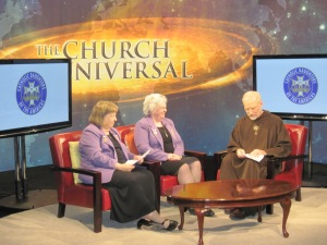 "Catholic Daughters of the Americas National Regent-Elect Shirley Seyfried & National Regent Anne Nelson filming an episode of EWTN's ""The Church Universal"" with Host Fr. Joseph Mary Wolfe. The series will begin airing in the fall."