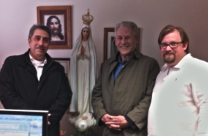 "World Apostolate of Fatima Executive Director David M. Carollo, National Director Deacon Bob Ellis, and Communications Director David Greiner at EWTN. ""We are a publivc association of the faithful,"" says Corollo. ""We speak as the voice of the Vatican, the church, on Fatima. We want people to learn, live and spread the message of Fatima."""