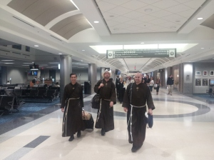 EWTN's Franciscan Missionaries of the Eternal Word! Fr. John Paul (right) on his way to World Youth Day in Rio with Fr. Miguel (left) and Fr. Mark (center).