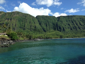 View of cliffs St. Damien summited once a week from Kaluapapa and Kalawao to the rest of Molokai